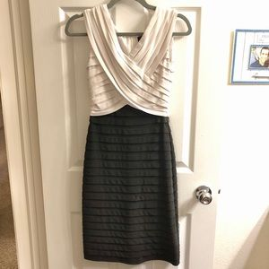 Adrianna Papell White and Black Bodycon Dress